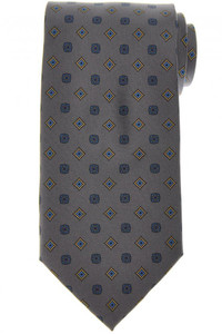 E. Marinella Napoli Tie Silk 'Wide Model' Gray Blue Geometric
