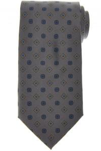 E. Marinella Napoli Tie Silk 'Wide Model' Gray Blue Geometric 07TI0163