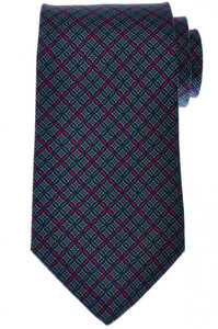 E. Marinella Napoli Tie Silk Blue Green Geometric 07TI0134