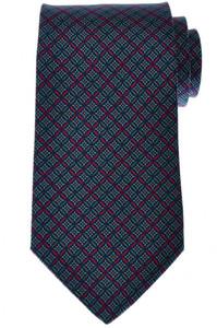 E. Marinella Napoli Tie Silk Blue Green Geometric 07TI0134