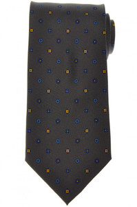 E. Marinella Napoli Tie Silk 'Wide Model' Gray Blue Geometric 07TI0157