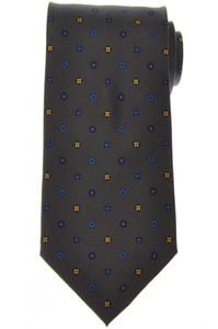 E. Marinella Napoli Tie Silk 'Wide Model' Gray Blue Geometric 07TI0157