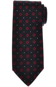 E. Marinella Napoli Tie Silk Dark Navy Blue Red Geometric
