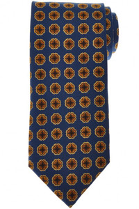 E. Marinella Napoli Tie Silk Blue Yellow Geometric