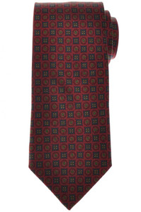 E. Marinella Napoli Tie Silk Brown Blue Geometric 07TI0153