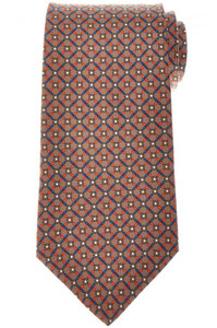 E. Marinella Napoli Tie Silk 'Wide Model' Brown Orange Geometric