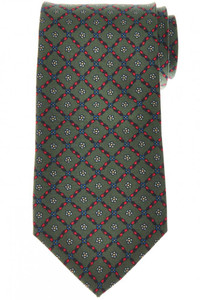 E. Marinella Napoli Tie Silk 'Wide Model' Green Red Geometric 07TI0194