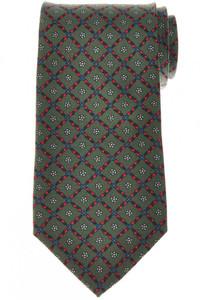 E. Marinella Napoli Tie Silk 'Wide Model' Green Red Geometric 07TI0194