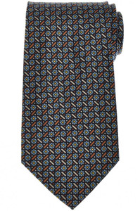E. Marinella Napoli Tie Silk 'Wide Model' Blue Brown Geometric 07TI0193