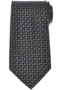 E. Marinella Napoli Tie Silk 'Wide Model' Blue Brown Geometric 07TI0193