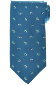 E. Marinella Napoli Tie Silk 'Wide Model' Blue Off White Floral 07TI0191