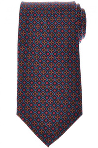 E. Marinella Napoli Tie Silk 'Wide Model' Navy Blue Red Geometric 07TI0188