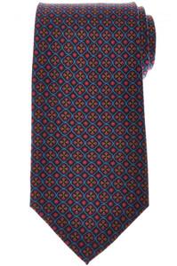 E. Marinella Napoli Tie Silk 'Wide Model' Navy Blue Red Geometric 07TI0188