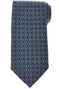 E. Marinella Napoli Tie Silk 'Wide Model' Blue Orange Geometric 07TI0187