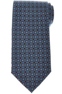 E. Marinella Napoli Tie Silk 'Wide Model' Blue Orange Geometric 07TI0187