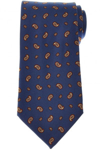 E. Marinella Napoli Tie Silk 'Wide Model' Blue Orange Paisley