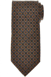 E. Marinella Napoli Tie Silk Brown Blue Geometric 07TI0184