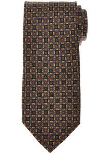 E. Marinella Napoli Tie Silk Brown Blue Geometric 07TI0184