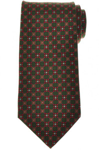 E. Marinella Napoli Tie Silk 'Wide Model' Green Red Geometric
