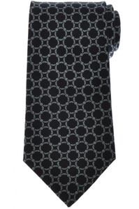 E. Marinella Napoli Tie Silk 'Wide Model' Navy Blue Geometric