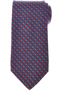 E. Marinella Napoli Tie Silk 'Wide Model' Red Blue Check 07TI0181