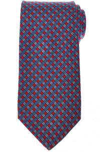 E. Marinella Napoli Tie Silk 'Wide Model' Red Blue Check 07TI0181