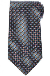 E. Marinella Napoli Tie Silk 'Wide Model' Blue Brown Geometric 07TI0212