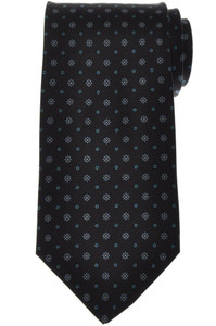E. Marinella Napoli Tie Silk 'Wide Model' Black Blue Geometric 07TI0210
