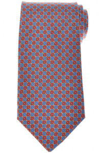 E. Marinella Napoli Tie Silk 'Wide Model' Brown Blue Geometric 07TI0208