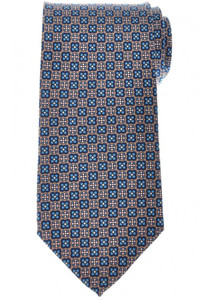 E. Marinella Napoli Tie Silk 'Wide Model' Brown Blue Geometric 07TI0206
