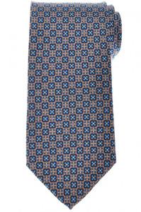 E. Marinella Napoli Tie Silk 'Wide Model' Brown Blue Geometric 07TI0206