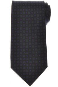 E. Marinella Napoli Tie Silk 'Wide Model' Black Green Geometric 07TI0205