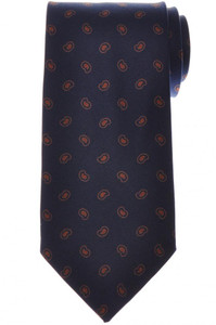 E. Marinella Napoli Tie Silk 'Wide Model' Blue Brown Paisley