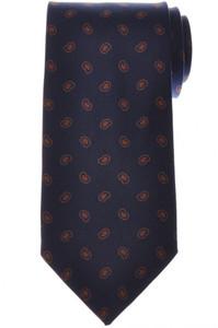 E. Marinella Napoli Tie Silk 'Wide Model' Blue Brown Paisley 07TI0203