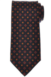 E. Marinella Napoli Tie Silk Blue Brown Geometric 07TI0201