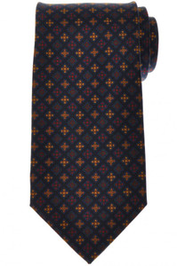 E. Marinella Napoli Tie Silk 'Wide Model' Blue Yellow Geometric 07TI0199