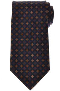 E. Marinella Napoli Tie Silk 'Wide Model' Blue Yellow Geometric