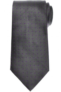 E. Marinella Napoli Tie Silk Gray Purple Polka Dot 07TI0197