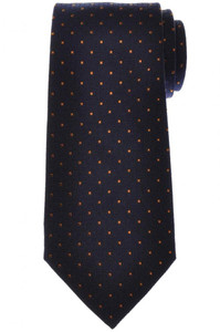 E. Marinella Napoli Tie Silk Blue Brown Polka Dot 07TI0196