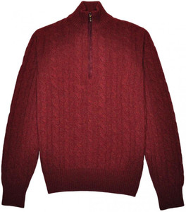 Loro Piana 1/2 Zip Sweater Baby Cashmere 48 Small Burgundy 04SW0141
