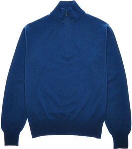 Loro Piana 1/2 Zip Sweater Baby Cashmere 48 Small Blue 04SW0139