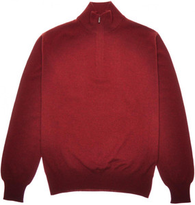 Loro Piana 1/2 Zip Sweater Baby Cashmere 48 Small Burgundy 04SW0138