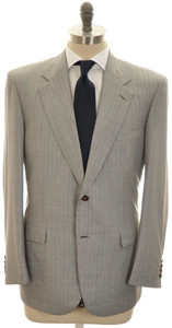 Brioni Suit 'Palatino' 2B Wool Silk 44 54 Gray Red Stripe