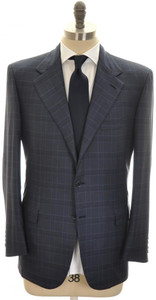 Brioni Suit 'Palatino' 3B Wool Silk 42 52 Blue Plaid