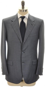 Brioni Suit 'Palatino' 3B Wool 150's 40 50 Blue Stripe 03SU0194