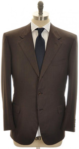 Brioni Suit 'Palatino' 3B Wool 180's 44 54 Brown Tick Weave