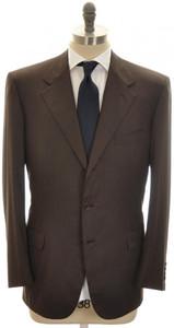 Brioni Suit 'Palatino' 3B Wool 180's 44 54 Brown Tick Weave 03SU0193