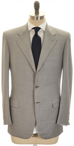 Brioni Suit 'Palatino' 3B Wool 39 49 Gray Sharkskin Pink Stripe 03SU0199