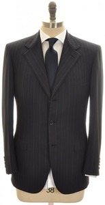 Brioni Suit 'Palatino' 3B Wool 150's 38 48 Blue Stripe