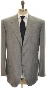 Brioni Suit 'Palatino' 3B Wool 150's 48 58 Gray Stripe